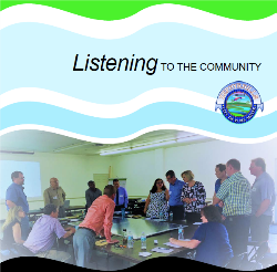 People meeting and text that reads: Listening to the Community
