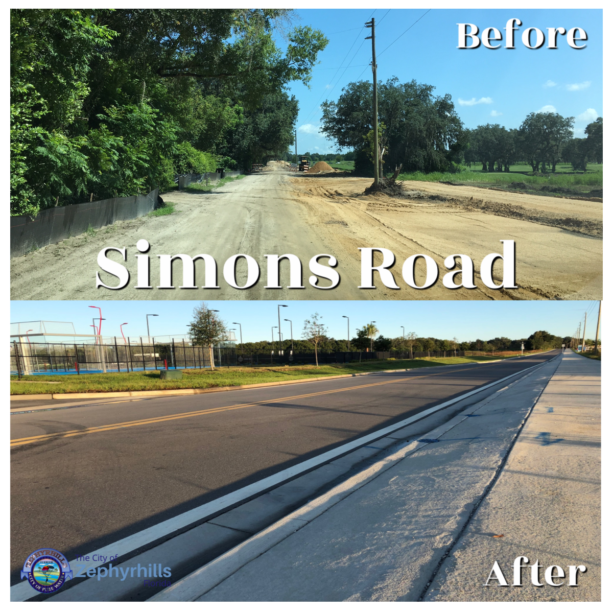 Simons road before and after