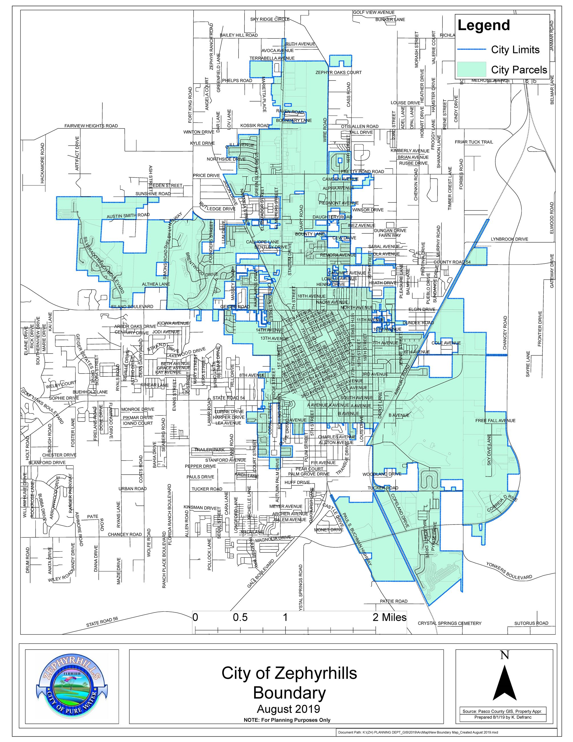 City of Zephyrhills City Limits New Boundary Map Created August 2019